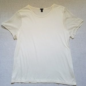 J. Crew t-shirt swiss-dot silk chiffon sleeves XL
